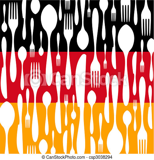 German Cuisine: Cutlery pattern on the country flag - csp3038294