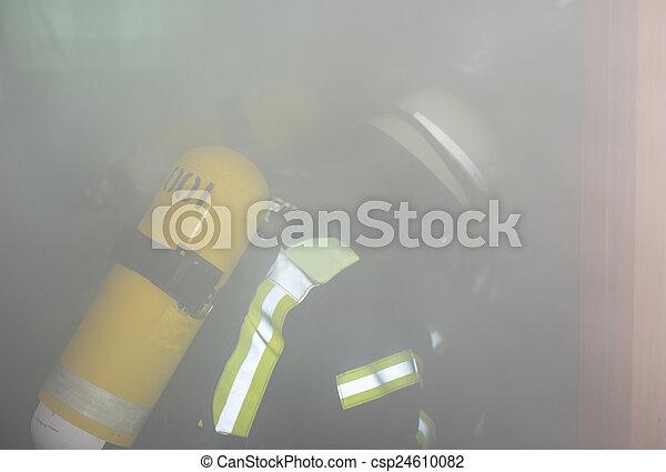 German firefighter in action - csp24610082