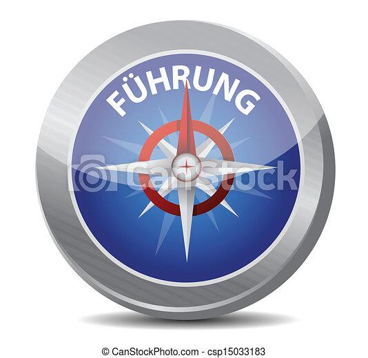 Guía de brújula al liderazgo en alemán. - csp15033183
