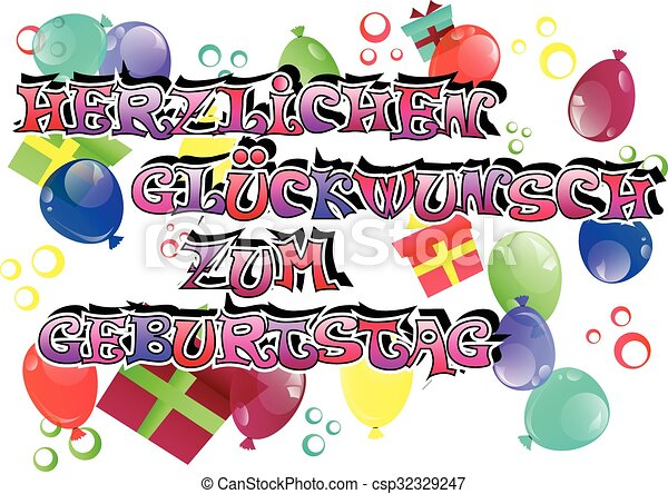 Vector german happy birthday card with balloons and gift eps german happy birthday card csp32329247 m4hsunfo