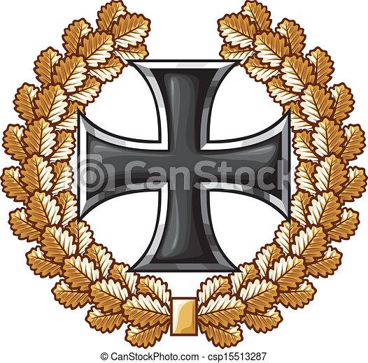 german iron cross and oak wreath - csp15513287