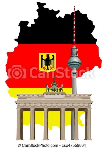 german landmarks and map illustration of german landmarks clip rh canstockphoto com germany flag clip art