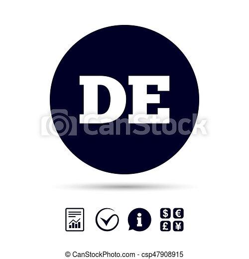 German Language Sign Icon De Deutschland German Language Sign Icon