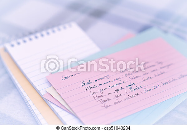 German learning new language writing greetings on the notebook german learning new language writing greetings on the notebook csp51040234 m4hsunfo