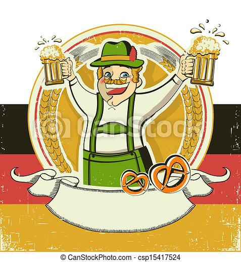 German man and beers.Vintage oktoberfest  symbol on old paper background - csp15417524
