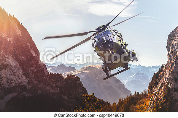 german military helicopter in flight - csp40449678