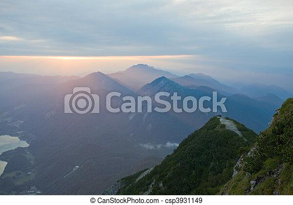 german mountain lake at sunrise - csp3931149