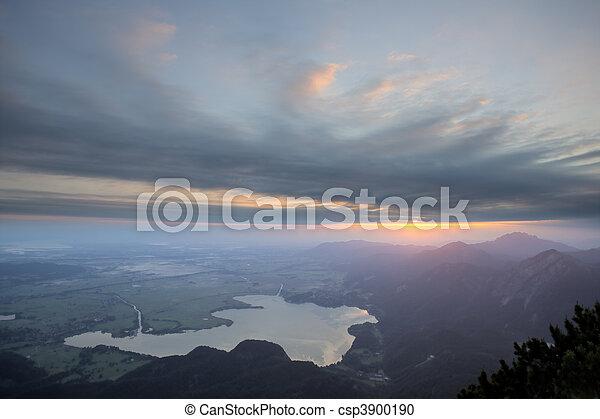 german mountain lake at sunrise - csp3900190