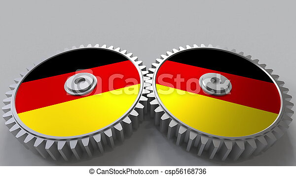 German national project. Flags of Germany on moving cogwheels. Conceptual 3D rendering - csp56168736