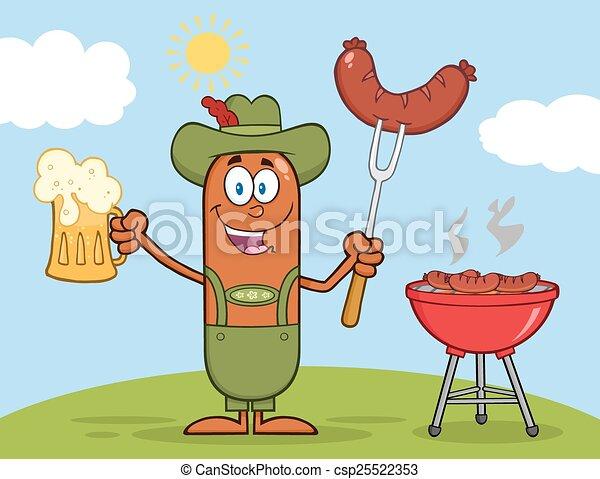 German Oktoberfest Sausage Cartoon  - csp25522353