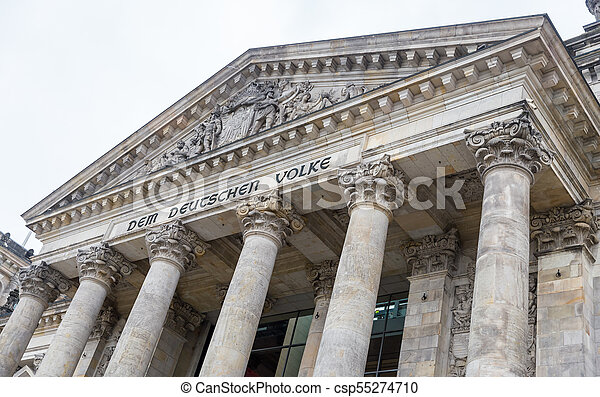 German parliament, Reichstag building in Berlin, Germany - csp55274710