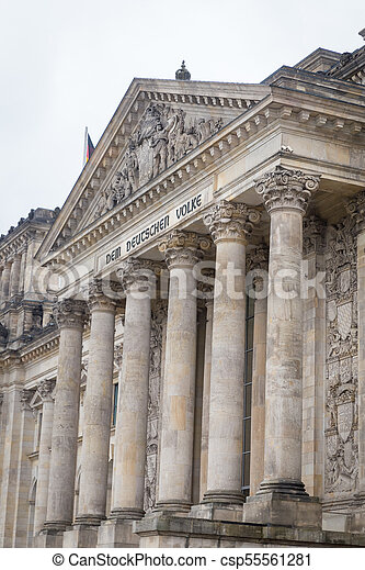 German parliament, Reichstag building in Berlin, Germany - csp55561281