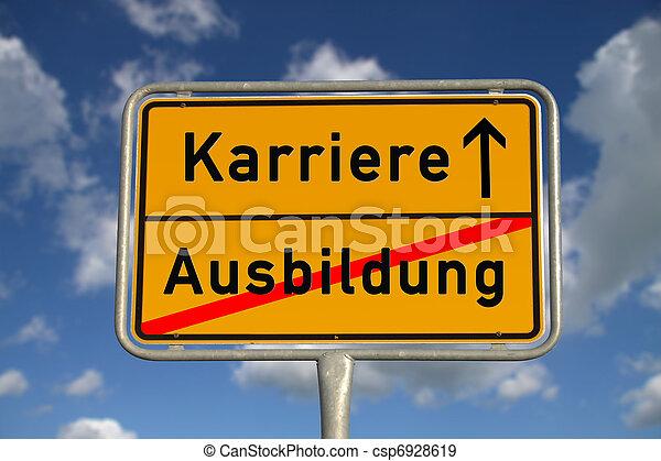 German road sign apprenticeship and career - csp6928619