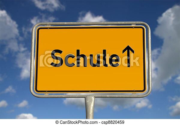 German road sign School - csp8820459