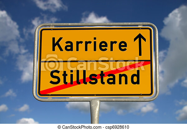 German road sign stagnancy and career - csp6928610