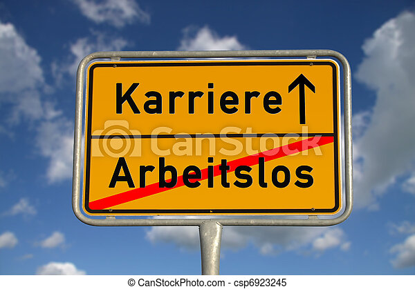German road sign unemployed and career - csp6923245