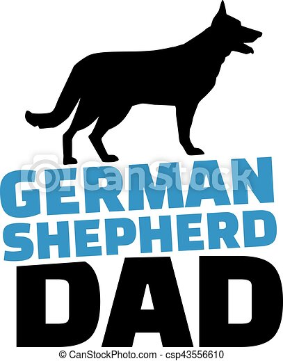 german shepherd dad with dog silhouette