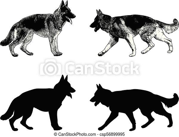 german shepherd dog silhouette and sketch vector