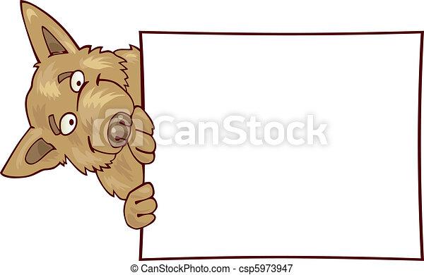 German shepherd dog with card - csp5973947