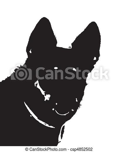 german shepherd big dog fullface isolated silhouette