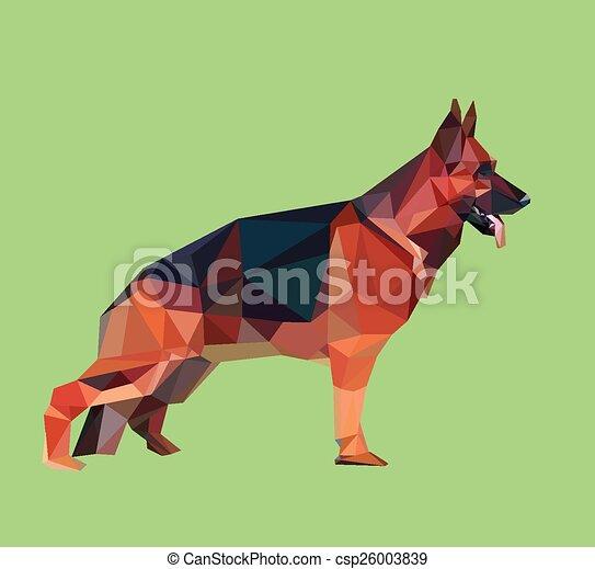German Shepherd Low Polygon German Shepherd Dog With Triangle