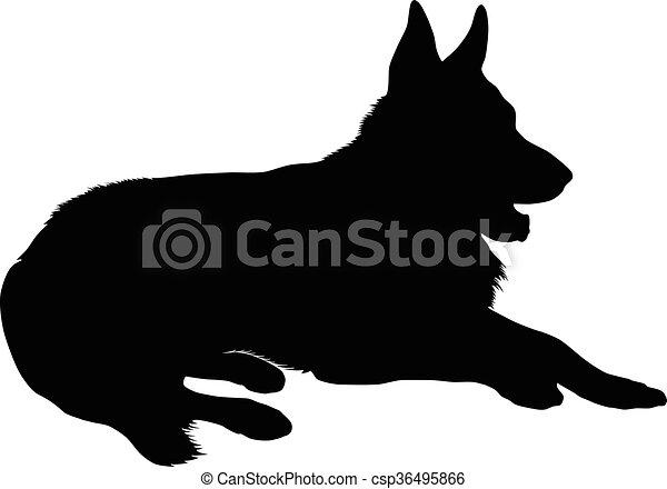 german shepherd silhouette vector silhouette of a purebred german