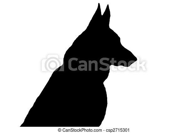 a black german shepherd silhouette