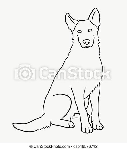 German Shepherd Sitting Pet Dog Sketch German Shepherd Sitting Pet - German-shepherd-drawings