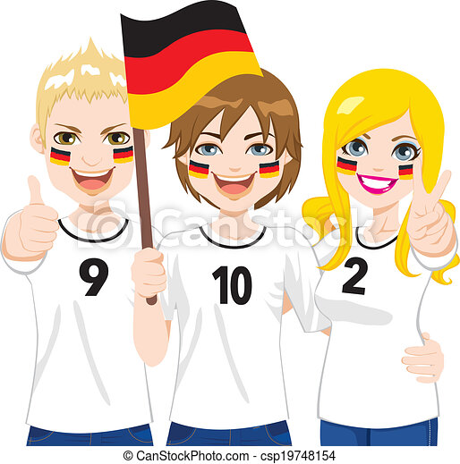 Young German Soccer Fans Cheering Their Germany National Clipart