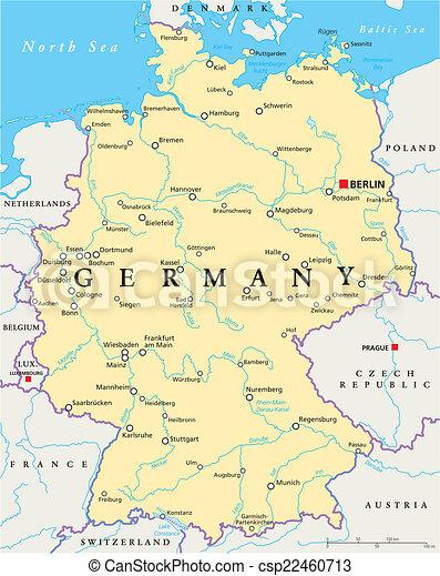 Cartina Germania Con Fiumi.Germania Politico Mappa Mappa Scaling Illustration Nazionale Berlino Politico Etichettare Fiumi Lakes La Canstock