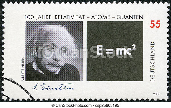 GERMANY - 2005: shows Albert Einstein (1879-1955) and Equation o - csp25605195