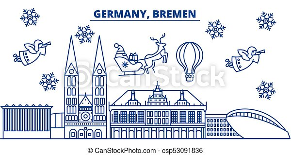 germany bremen winter city skyline merry christmas happy new year decorated banner with santa