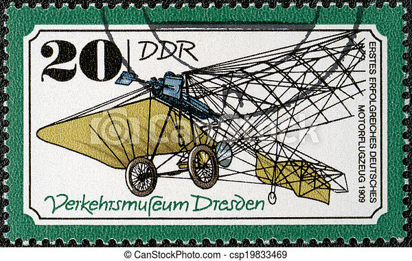 GERMANY - CIRCA 1977: A stamp printed in Germany shows irst successful German plane, 1909, series Transportation Museum, Dresden, circa 1977 - csp19833469