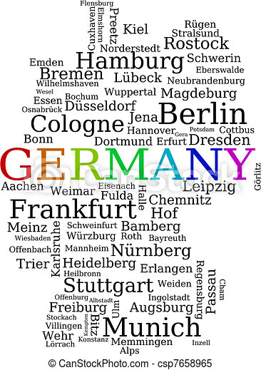 Clipart Vector Of Germany Outline Map Made Of City Names German - Germany map eps
