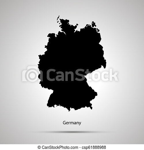 Country Of Germany Map.Germany Country Map Simple Black Silhouette On Gray