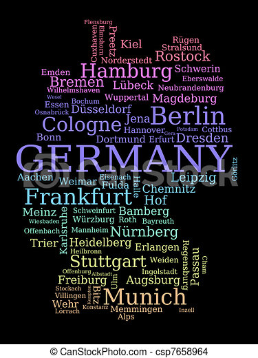 EPS Vector Of Germany Outline Map Made Of City Names German - Germany map eps