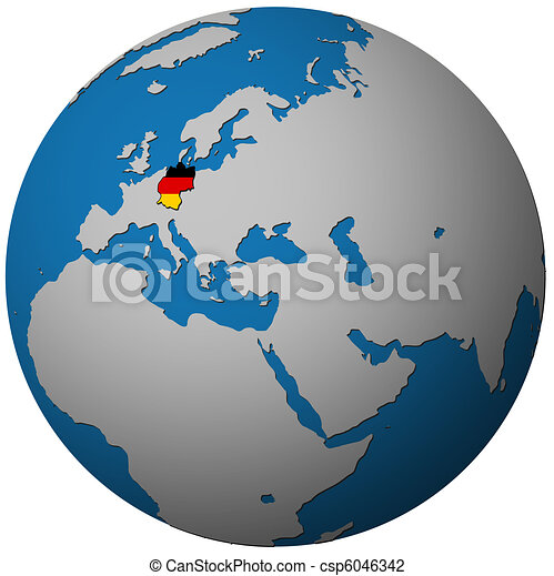Germany flag on globe map Germany territory with flag on clip