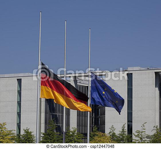Germany flag on half-mast / Trauerbeflaggung Bundestag - csp12447048
