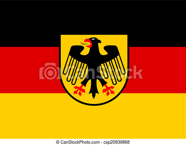 Germany flag with coat of arms vector - csp20939868