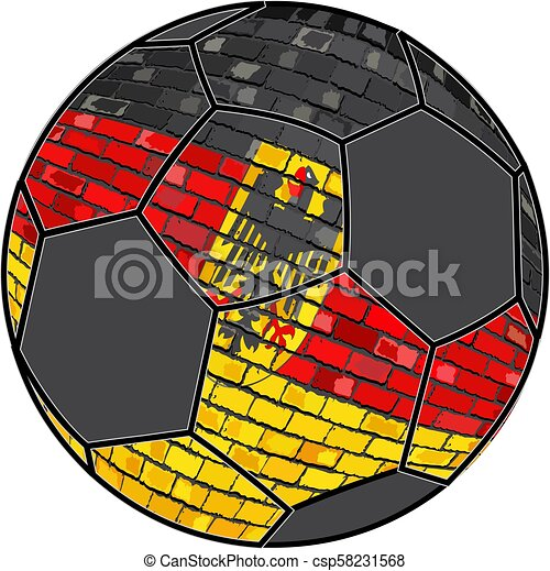 Germany flag with soccer ball background - csp58231568