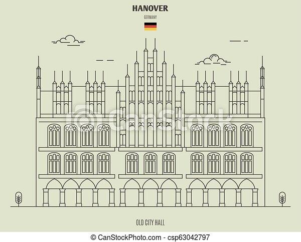 germany., hanovre, vieux, repère, hôtel ville, icône - csp63042797