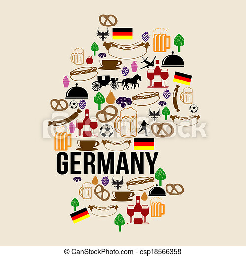 Clipart Vector Of Germany Landmark Map Silhouette Icon On Retro - Germany map eps