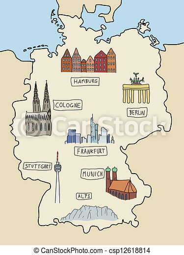 Germany landmarks germany famous places on a doodle map for Graphic design frankfurt