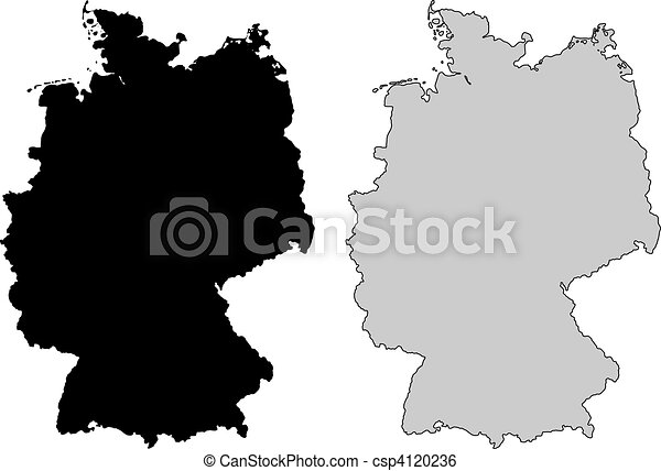 Clip Art Vector Of Germany Map Black And White Mercator - Germany map drawing