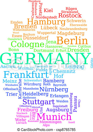Clipart Vector Of Germany Map Map Of Germany Colorful Outline - Germany map eps