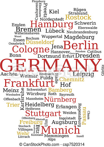 EPS Vector Of Germany Map Germany Outline Map Made Of City - Germany map eps