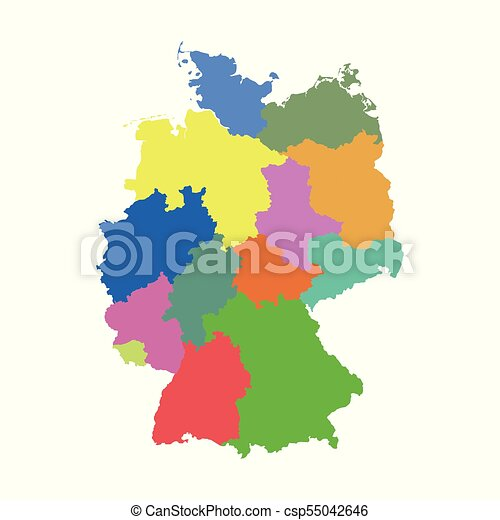 Germany Map Of States.Germany Map With Federal States Flat Vector