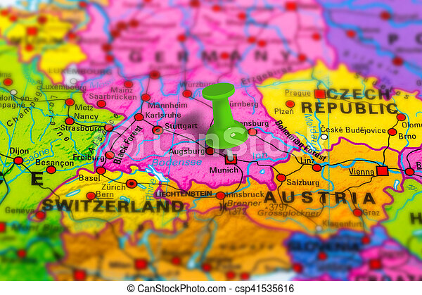Germany Munich Map Munich In Germany Pinned On Colorful Political