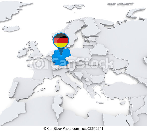 Germany on a map of europe highlighted germany on map of europe germany on a map of europe csp38612541 gumiabroncs Choice Image