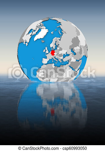 Germany on globe in water - csp60993050